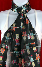 Small World Womens Scarf Kids International Flags Teacher Black Scarves New