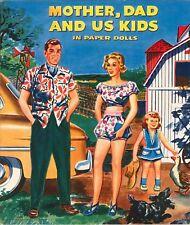 Vintge 1949 Mother Dad Kids Paper Dolls Laser Reproduction~Uncut~Lo Pr~Top Sellr