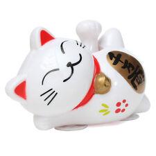 Solar Powered 11cm Maneki Neko Lucky Waving Beckoning Fortune Cat Car White DT