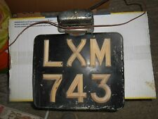 Vintage Hillman pre 1963 number plate and light