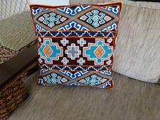 Handmade Kashmir Indian Wool Aztec Tribal Design Blue Cushion Cover NEW!
