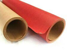 2 Rouleaux Recyclable Kraft Marron & Rouge Cadeau Emballage Naturel Papier 4M X