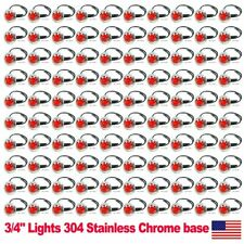 "100X 3/4"" Side Marker Light 3 SMD Red LED Truck Trailer RV Stainless Steel US"