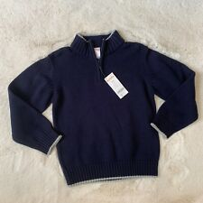 NWT GYMBOREE BOYS 1/4 Zip Navy Blue Gray Pullover Cotton Sweater S Small 5 - 6