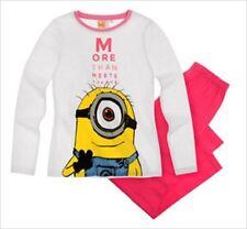 Pyjamas blanc manches longues pour fille de 2 à 16 ans en 100% coton