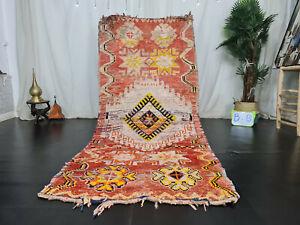 """Moroccan Tribal Vintage Handmade Rug 3'6""""x8'1"""" Floral Faded Red Wool Berber Rug"""