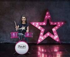 Beginner Drum Set Hot Pink Sparkles Kick Drum Tom Toms Cymbal Learning My First