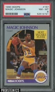 1990 Hoops #157 Magic Johnson Los Angeles Lakers HOF PSA 8 NM-MT