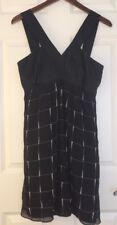 Express Women's Black Dress Size Medium Silk Knee Length Layered Print