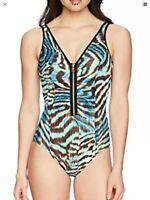 Coastal Blue Women's Plus Size Control Swimwear Front Zipper One Piece Swimsuit