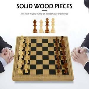 Jeu d'échecs en bois pliant échiquier pièces planche de bois cadeau éducatif