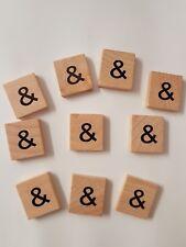 wooden scrabble style symbol ampersand  tiles letters frame art crafts x 10