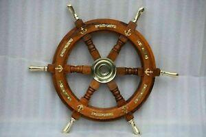"Nautical Wooden Ship Steering Wheel 18"" Pirate Decor Item Brass Handle Anchor"