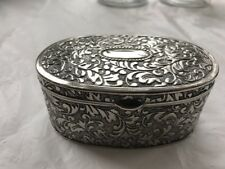 """Antique Large Victorian Solid Trinket Box Oval 274 Grams 4 1/4""""x 2 3/4"""" silver ?"""
