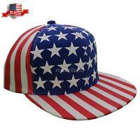 Snapback Hat American USA Flag Mens Womens Flat Bill Visor Cap 100% Cotton Skull