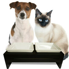 Double Bowl Dog Cat Feeder Elevated Stand Raised Ceramic Dish Sm/Med