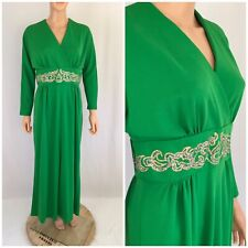 Vtg. 70s Green Caftan Maxi Dress Banded Waist Hostess Kimono Party Cocktail M/L