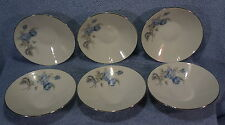 "Hutschenreuther Alicia Blue Rose 6- 5 1/4"" Fruit/Berry/Dessert Bowls-Lot of 6"