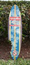 Blue Vintage Shark Bite Sign Solid Wood Surfboard Wall Art Tropical Beach Decor