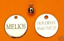 Médaille gravee chien ou chat - médaille ronde en Chrome 22mm avec grelot inclus