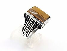 925 STERLING SILVER HANDMADE MODERN TURKISH OTTOMAN GOLDEN TIGER'S EYE RING SZ 9