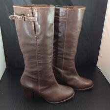 Nurture Lucia Size 9M Dark Brown Leather Knee High Boots Buckle Womens