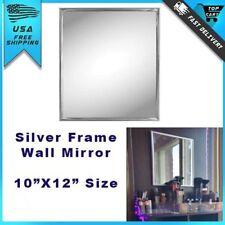 "Small Wall Mount Mirror Modern Silver Frame Trim Bathroom Home Decor 10"" x 12"""