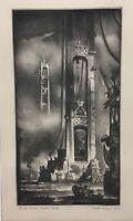 Reynold Weidenaar (1915-1985) Bridge Building Mackinac Straights - Mezzotint