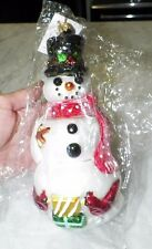 "Christopher Radko Snowman Ornament Cardinals Cat On Back 8"" Tags Box 1996"