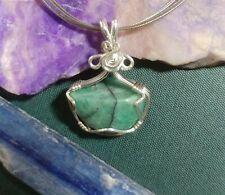 Natural Emerald Sterling Silver Wire Handmade Heart Chakra Reiki Healing Pendant