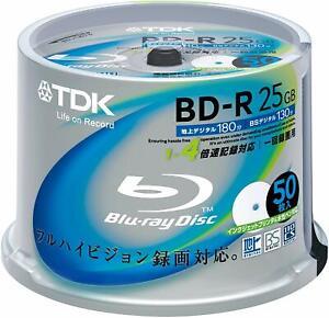 TDK Blu-ray Disc 50 cake tub - 25GB 4X BD-R - Printable - 100% GENUINE TDK-