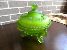Vintage Emerald Green Scalloped Depression Glass Lidded Bowl