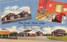 Wilmington Delaware views of New Castle Motor Lodge linen antique pc Z20703