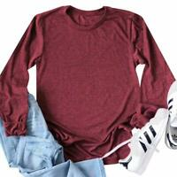 Women's Casual Long Sleeve Crewneck Stretch Slim Fit Basic Top T-Shirt - Medium