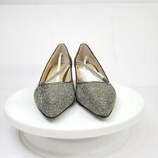 J. Renee 5.5 M Idenah Pewter Glitter Fabric Pumps Women's
