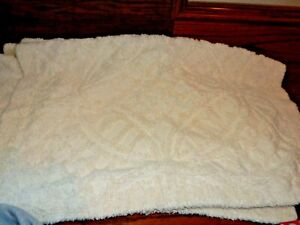Set 2 Vintage JCP Cream CHENILLE Standard Pillow Shams!