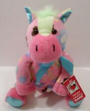 Adorable Ganz Floppy Pink Floral Plush Horse Stuffed Animal Doll Toy NWTs 9""