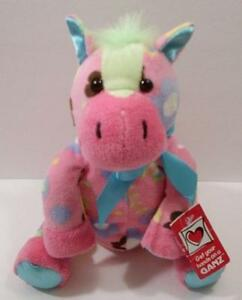 """Ganz Horse Plush Floral Floppy Pink  Animal Stuffed Colorful Toy NWTs 9"""""""