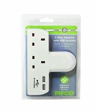 2 Way Gang Plug adattatore per presa a muro costruito nel 2 USB CARICABATTERIE PER CELLULARI TABLET