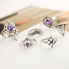 Women 7Pcs/Set Boho Vintage Silver Amethyst Crystal Above Knuckle Ring Jewelry