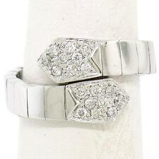 FINE 18k White Gold .30ctw Diamond Accented Flexible Bar Link Snake Wrap Ring