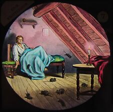 STUNNING COLOUR Glass Magic Lantern Slide DICK WHITTINGTON NO7 C1890 FAIRY TALE