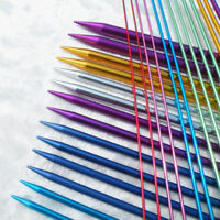 Colorful Aluminum Knitting Single Point Needles Hook Pins Straight Sewing ACC