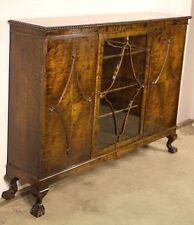 Art Deco antique 1920's rare tiger birch bookcase sideboard Scandinavian buffet