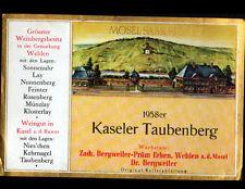 """ETIQUETTE ANCIENNE de VIN """"KASELER TAUBENBERG"""" de WEHLEN / MOSEL en 1958"""