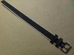 18mm Nylon Timex T7B981 Noir/Gris Facile Passe À Montre Bande Simple one piece