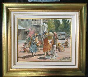 """""""Femmes malgaches au marché"""" Huile toile signée"""