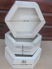 3 x  Large wooden hexagonal Boxes, ARTS & CRAFTS, DECOUPAGE, DECORATE