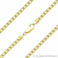 .925 Sterling Silver 14k Yellow Gold Round Box 1.5mm Link Italian Chain Necklace