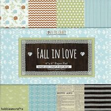 TRIMCRAFT LOVE TO CRAFT FALL IN LOVE PAPERS - 6 X 6 SAMPLE PACK  - 12 SHEETS